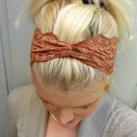 Toffee twist stretch lace headband feminine/classic/romantic