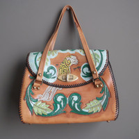 Vintage 60s Purse / 70s Vintage tooled leather / Hand Painted Purse / Tooled Clutch / Leopard Cheetah/ Big Cats