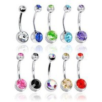 "Amazon.com: Lot of 10 Double Jeweled CZ Crystal Gem Belly Button Navel Rings 316L Surgical Steel 14 Gauge (10 Pieces)14G 3/8"" + 1 Free Belly Retainer: Jewelry"