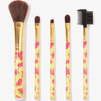 Rosette Print Cosmetic Brush Set