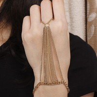 Gold Triangle Hand Chain