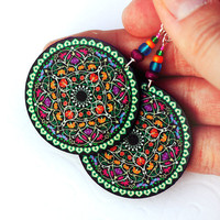 Christmas Mandala oriental rosette Earrings Round by MADEbyMADA