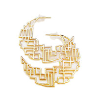 Geometrical Hoop Earrings in Gold