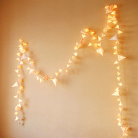 Cream Paper Pyramid Light Garland with Geometric Die Cuts - Long Strand