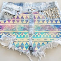 ANY COLOR Aztec Galaxy Print Ripped Frayed Denim High-Waisted Shorts