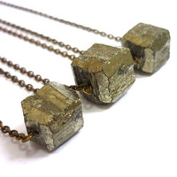 Raw Geometric Pyrite Gold Crystal Necklace by AstralEYE on Etsy