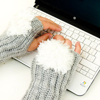 Crochet Grey Fingerless gloves white faux fur snowball.  wrist arm warmer mittens. Winter accessories. Christmas gift idea for her