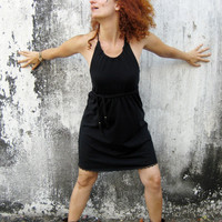 HOLIDAYS SALE- 20% off- Short halter black dress with fringe belt, Little black dress, Black Friday Etsy, Cyber Monday Etsy