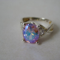 Sunset Aurora Ring Sterling Silver Vintage Size 7 925