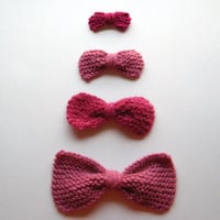 4 - Hand Knit Bows in Pinks
