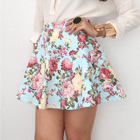 STYLE UP MINT FLORAL VINTAGE INSP HIGH WAISTED CIRCLE SKATER SKIRT 8