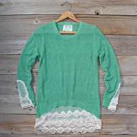 Lace Shadows Sweater in Mint, Sweet Bohemian Sweaters