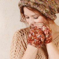 Fingerless gloves Wool mittens woman Gloves earth colors Knit gloves woman Warm gloves Warm mittens Pink brown gloves