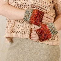 Orange mittens woman Mint green mittens Orange green gloves Bohemian gloves Fingerless gloves Crochet gloves woman Knit gloves woman