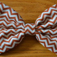 Orange Chevron Hair Bow