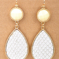 Ivory Textured Stone Drop Dangle Earrings from Monica's Closet Essentials
