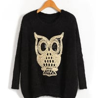 Black Owl Fluffy Sweater with Batwing Sleeve