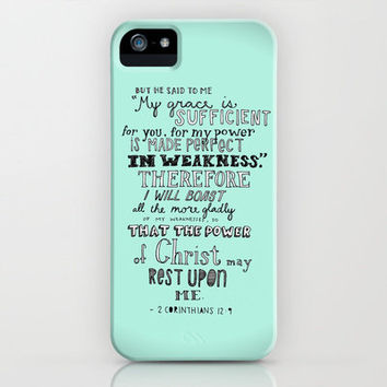 2 Corinthians 12:9 iPhone Case by Meredith Tan | Society6