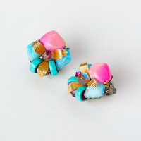 Vintage Cluster Pink and Blue Clip On Earrings Rhinestone and Gold Tone Accent