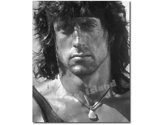 Sylvester stallone rambo art print from for Black and white celebrity prints