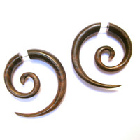 Spiral Earrings Fake Gauge sono wood SALE by sanfranblissco