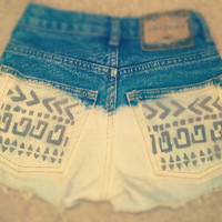 Made To Order-Tribal Print High Waisted Shorts