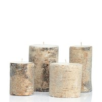 Zodax Set of 4 North Star Frosted Bead Birchwood Candles, Birchwood at MYHABIT