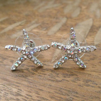Clear AB Rhinestone Starfish Earrings - Stud Earrings - Starfish