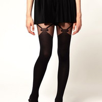 Gipsy | Gipsy Mock Bow Suspender Tights at ASOS