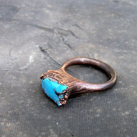 Copper Ring Turquoise Handmade Ring Simple Raw by MidwestAlchemy