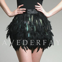 Couture Black Coque Feather Mini Skirt - Laveder Faye