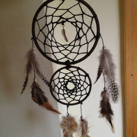 Brown faux suede trim double dream catcher, black web and silver feather charm finish 10cm & 7cm diameter dreamcatcher hand made