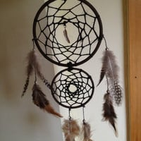 Brown faux suede trim double dream catcher, black web and silver feather charm finish 10cm &amp; 7cm diameter dreamcatcher hand made
