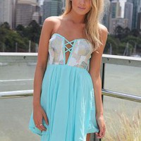 Blue Strapless Mini Dress with Sequin Cutout Bodice