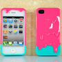 Green &amp; Peach 3D Melt Ice Cream Skin Hard Back Case Cover For iPhone 4 4G 4S