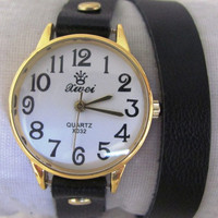 Handmade Bracelet Gold Watch with a real black leather band. 30% Off - 64 Dollars Only. Xmas Gift FREE SHIPPING