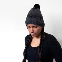 wool free vegan fair-isle slouchy beanie -- black and charcoal grey