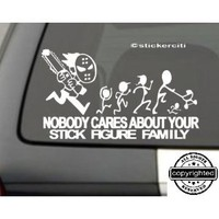 "Amazon.com: ChainSaw Decal F*@K Nobody cares about YOUR STICK FIGURE FAMILY Funny Vinyl Sticker 8""x5"": Everything Else"