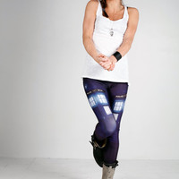 Tardis Print Leggings, Digitally Printed Legwear from our FallOut Collection Pre-Orders with Free Shipping