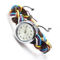 Novelty Colourful Woven Bracelet Watch