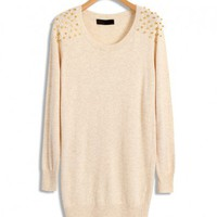 Beige Longline Knitwear with Golden Rivets Shoulders