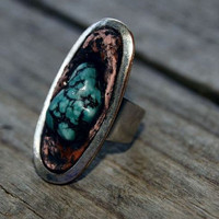 Turquoise Howlite Gypsy Ring, Platinum Colour Band, Gemstone imbedded into Cold Clay, Adjustable.