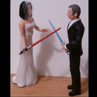 Custom Bride and Groom With Light Sabers Wedding Cake Toppers Figure set - Personalized to Look Like Bride Groom from your Photos