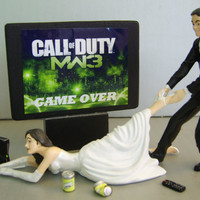VIDEO Game &#x27;junkie&#x27; BRIDE - Customized Wedding Cake Topper.  New Design - The ORIGINAL Video Game cake topper....not a copy cat.