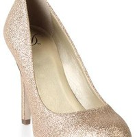 glitter high heels with round toe and small platform  - debshops.com