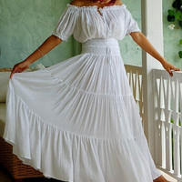 A763 White/DressPeasantEthinicSmockedBoho by LOTUSFAMILYINBALI
