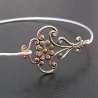 Bangle Bracelet Magdalena  Silver by FrostedWillow on Etsy