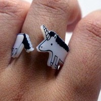 Unicorn WrapAround Ring by greenmot on Etsy