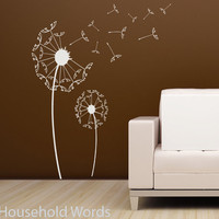 Dandelion wall decal with blowing seeds Large by HouseHoldWords