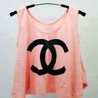 COCO CHANEL pink T Shirts Tank Top Tunic high waist women handmade silk screen printing